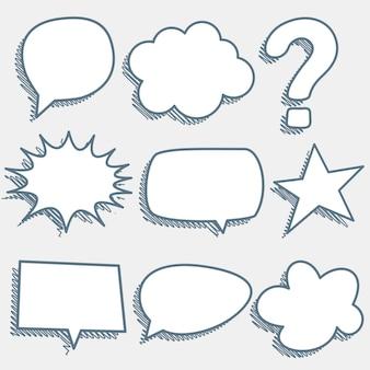 Comic chat burbujas y expresiones en estilo boceto
