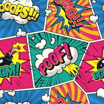 Comic colorido de patrones sin fisuras