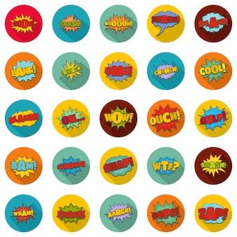 Comic conjunto de iconos de sonido, estilo plano