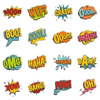 Comic iconos de sonido de colores establecidos en estilo plano
