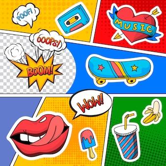 Cómics de efectos de sonido de emociones