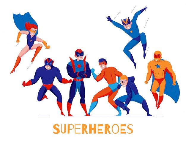 Cómics videojuegos de computadora superhéroes póster de composición plana con super hombre y mujer maravilla