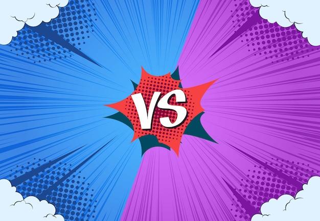 Comics vs fondo. versus página de libro de lucha, desafío de batalla de acción, semitono abstracto retro. versus arte de juego conceptual de cómics