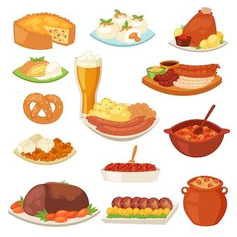 Comida alemana cocina tradicional de salchichas alemanas y de carne cocida para la cena