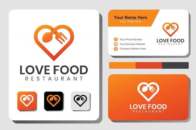 Comida de amor moderna, logotipo de comida favorita con plantilla de diseño de tarjeta de visita