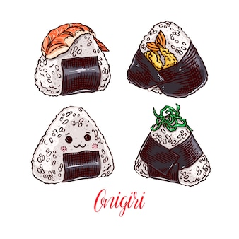 Comida asiática. lindo conjunto de diferentes onigiri. ilustración dibujada a mano