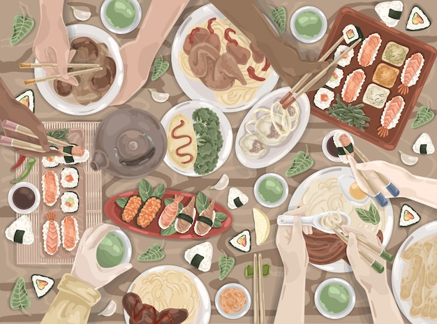 Comida asiática, oriental, almuerzo japonés, comida china