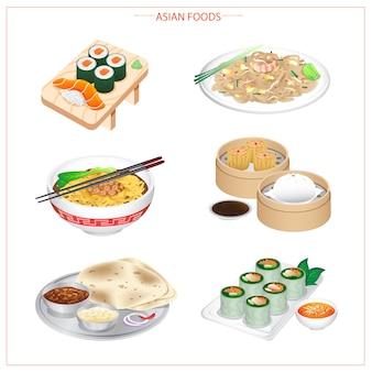 Comida asiática, variedad de ingredientes, verduras, hierbas y especias.