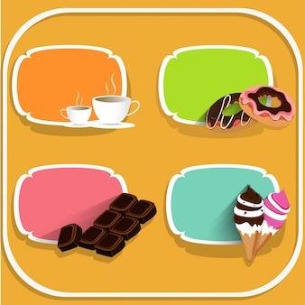 Comida y bebida etiquetas con café, donas, chocolates y helados en fondo amarillo.