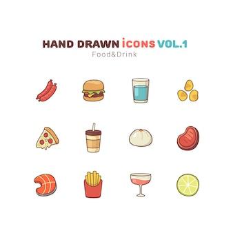 Comida y bebida iconos dibujados a mano
