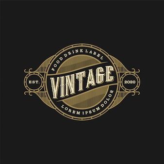 Comida bebida logo estilo vintage restaurante y cafetería bar