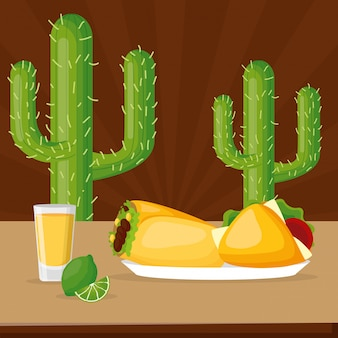 Comida y bebida mexicana con cactus y café.