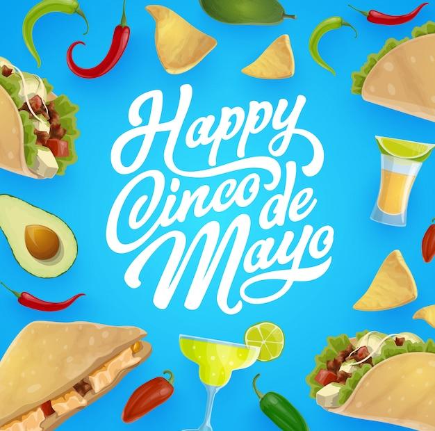 Comida y bebida mexicana. fiesta de cinco de mayo