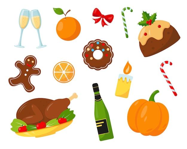 Comida y bebida navideña para la cena festiva, aislado sobre fondo blanco.