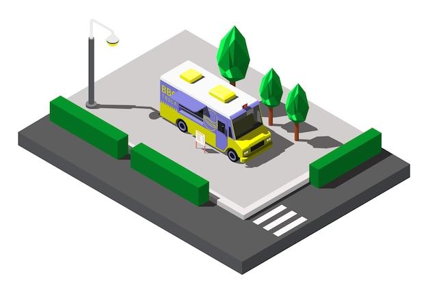 Comida callejera de camión de barbacoa, ilustración isométrica.