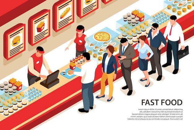 Comida callejera isométrica horizontal con personajes humanos de pie en la cola en el mostrador de la cafetería de comida rápida