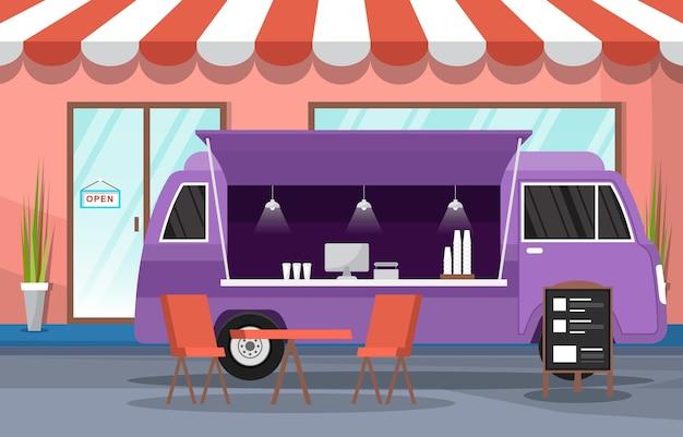 Comida camión van coche vehículo calle tienda ciudad ilustración