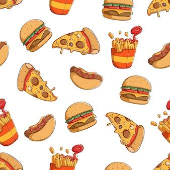 Comida chatarra con hamburguesa de rebanada de pizza y hot dog en patrones sin fisuras