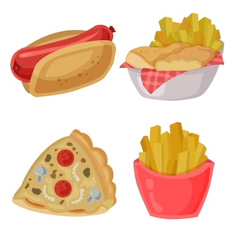 Comida chatarra vector clip art hotdog fries pizza conjunto de elementos