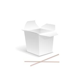 Comida china abierta blanco sacar caja de fideos con palillos. contenedor para comida rápida, almuerzo asiático, cartón vacío.