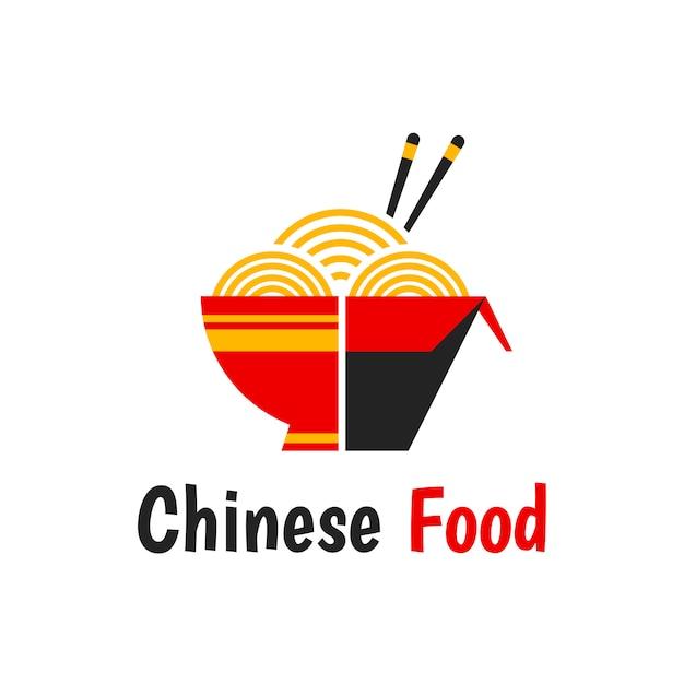 La comida china aisló el icono plano del ejemplo de la historieta aislado en blanco. caja de fideos, receta original, palillos, fideos wok. logotipo de comida china