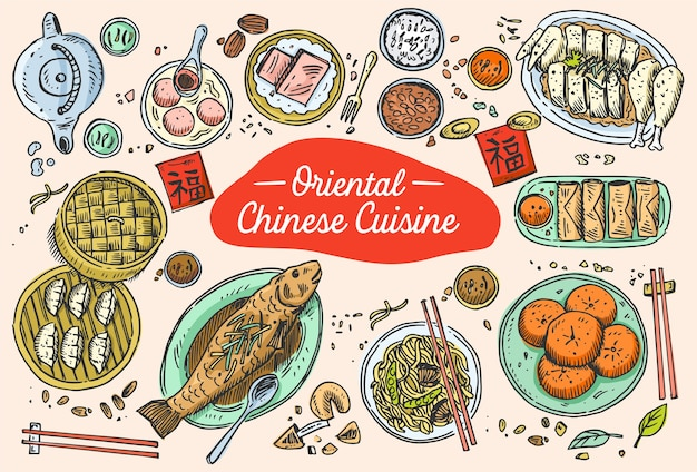 Comida china dibujada a mano