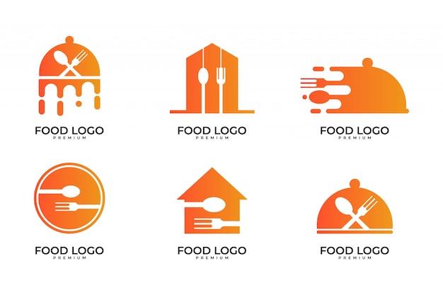 Comida, cocinero, conjunto de diseño de logotipo de restaurante