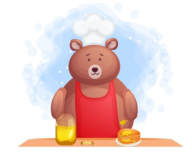 Comida de desayuno de oso lindo con panqueques