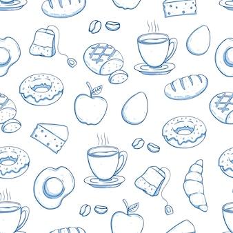 Comida de desayuno en patrones sin fisuras con estilo doodle