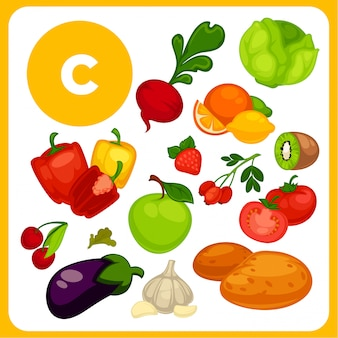 Comida de dibujos animados con vitamina e.