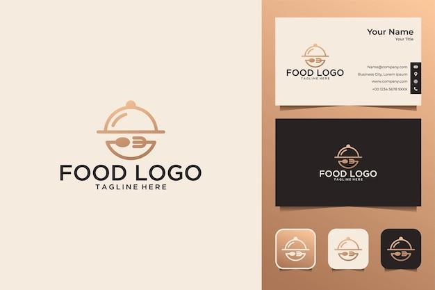 Comida con diseño de logotipo de tenedor y cuchara y tarjeta de visita.