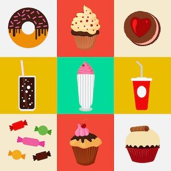 Comida dulce. comida rápida. pastel, buñuelo, caramelos, chocolate, muffin. conjunto de iconos