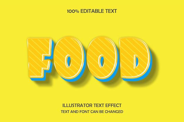 Comida, efecto de texto editable en 3d estilo moderno sombra