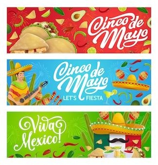Comida de fiesta mexicana, sombrero, guitarra y maracas