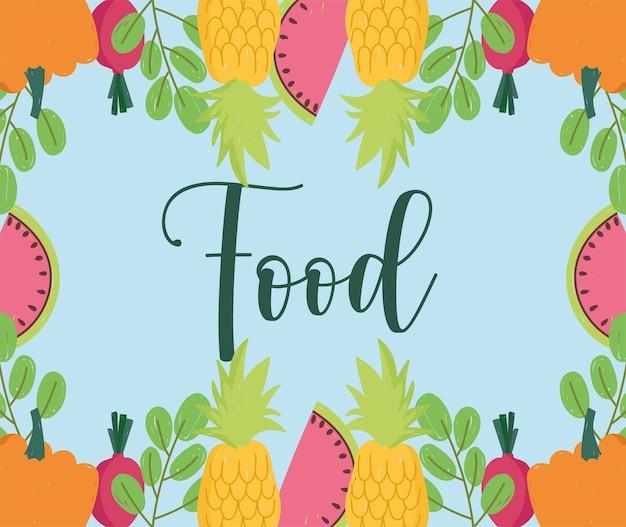 Comida con frutas y verduras piña sandía calabaza y follaje ilustración