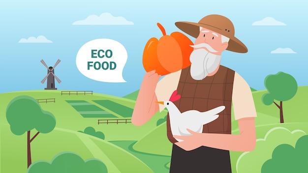Comida de granja ecológica, agricultor de dibujos animados con calabaza y pollo, de pie en tierras de cultivo de campo verde