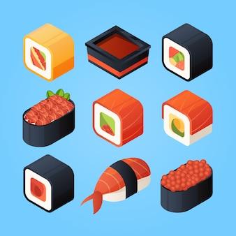 Comida isométrica asiática sushi, panecillos y otros alimentos japoneses