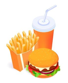 Comida isométrica: hamburguesa, papas fritas y cola aislado en la plantilla de póster de fondo blanco