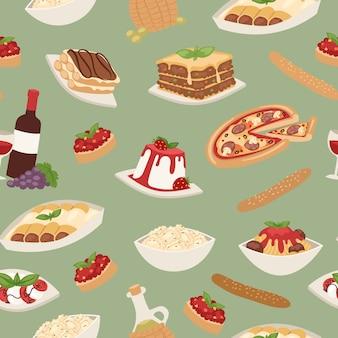 Comida italiana con cocinar pizza, pasta de almuerzo, espagueti y queso, postres y vino sin patrón