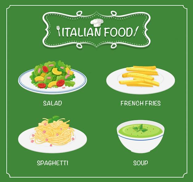 Comida italiana en el menu