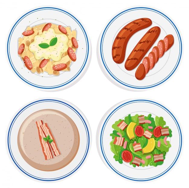 Comida italiana en platos redondos.