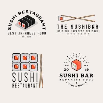 Comida japonesa, logotipos, insignias para negocios. logotipos de bares de sushi con objetos relacionados con mariscos japoneses
