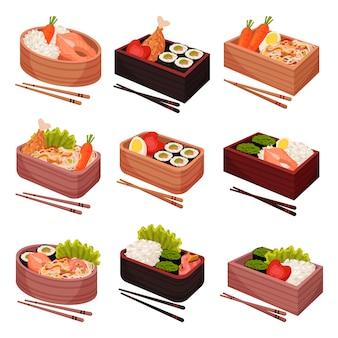 Comida japonesa en lonchera sobre fondo blanco.