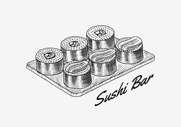 Comida japonesa. set de barra de sushi o rollos. ilustración de vector de restaurante asiático. dibujado a mano grabado
