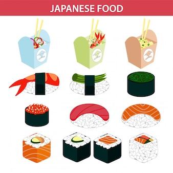 Comida japonesa sushi y marisco sashimi rollos iconos vectoriales