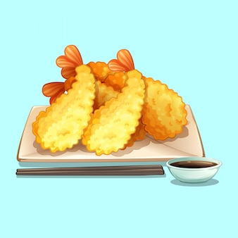 Comida japonesa con tempura y salsa shoyu.