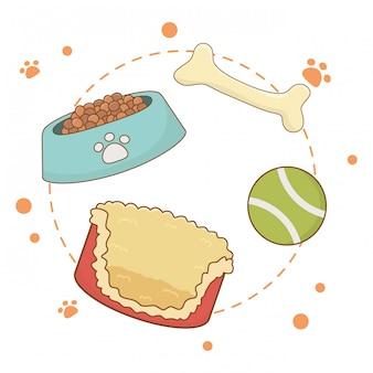 Comida y juguetes para perro