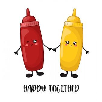 Comida kawaii de dibujos animados - comida rápida, salsa de tomate, mostaza