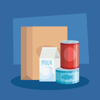 Comida en lata con caja de leche y bolsa de papel