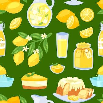 Comida de limón cítricos de color amarillo limón y limonada fresca o jugo natural conjunto de ilustración de pastel de limón con mermelada y jarabe de cítricos sin fisuras de fondo